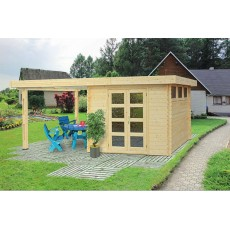 Modern log cabin with porch 10' x 10' (3 x 3 m), 28 mm