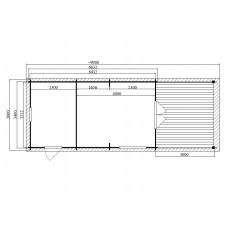 6,4 x 3,3 m log cabin (44 mm)